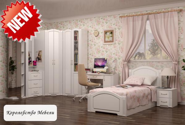 Кровать Виктория (ИЖ) (90*200) (белый глянец)