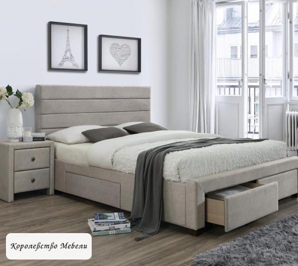 Кровать двуспальная KAYLEON (160*200) c ящиками (HALMAR)
