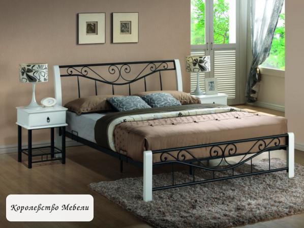 Кровать PARMA (160*200) черно-белая,с основанием