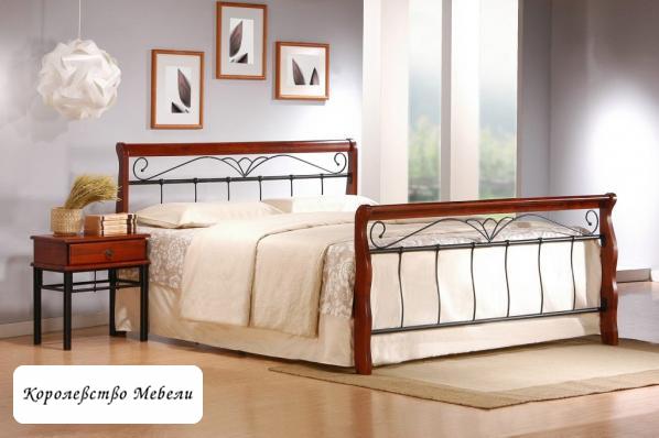 Кровать VERONICA (180*200) античная черешня, с основанием (Halmar)