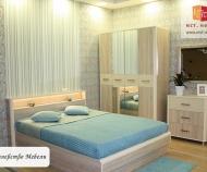 Кровать Оливия, с подсветкой и подъёмным механизмом (дуб сонома/ваниль)
