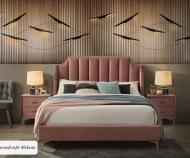 Кровать MONAKO Velvet (античный розовый) (160*200), с основанием
