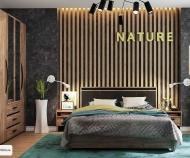 Кровать Nature  Люкс, без основания (Дуб табачный Craft-Черный)