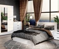 Кровать Йорк , без основания (белый/ белый глянец)