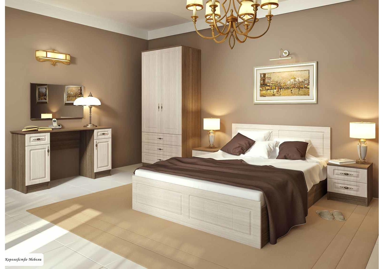 Кровать Ницца (сандал / ясень темный) , с основанием