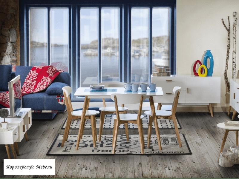 Стол MILAN (120x80) (белый / дуб)