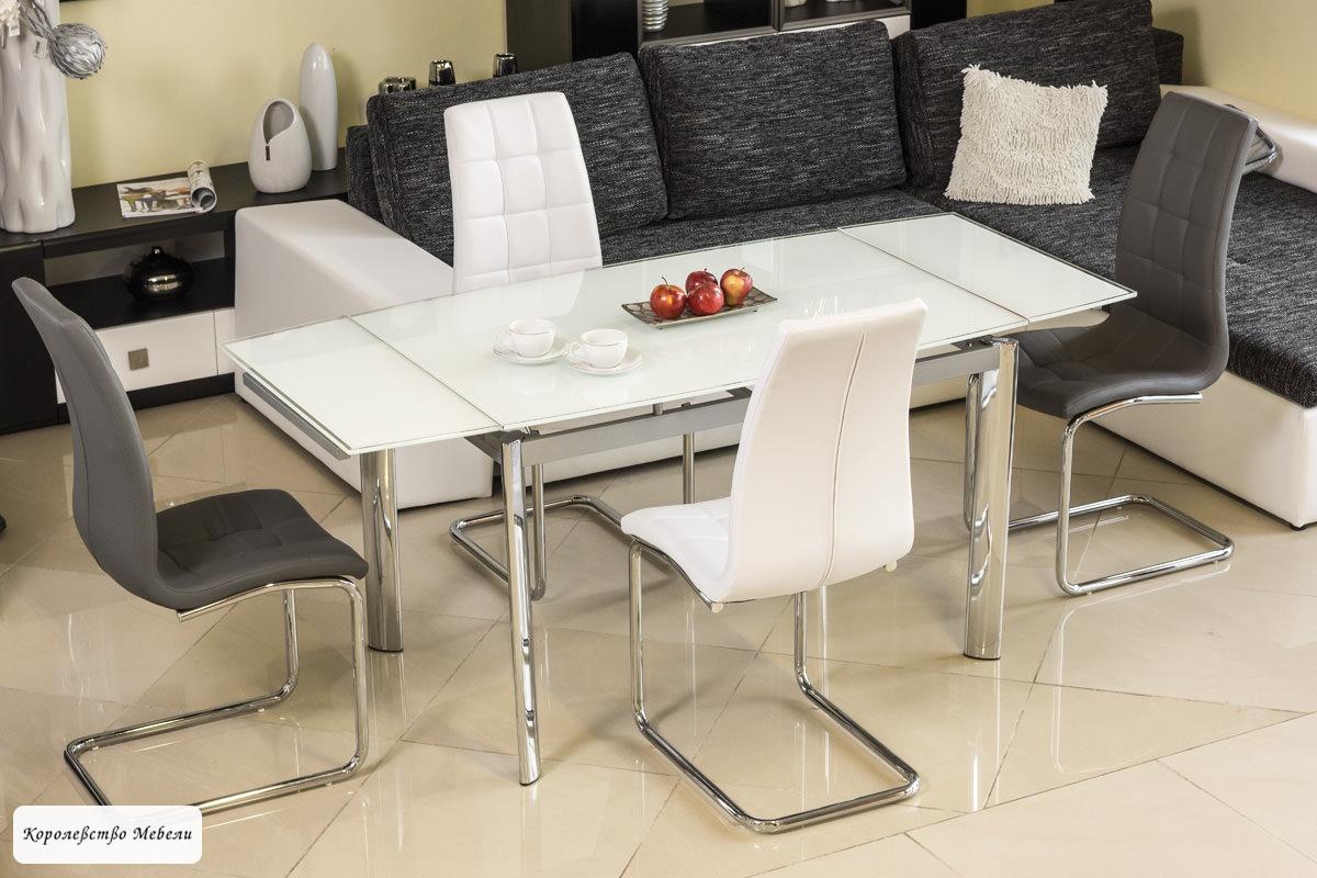 Стол стеклянный раздвижной GD-020 (80-120(180) белый