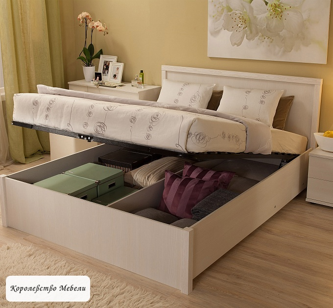 Кровать BAUHAUS, с подъёмным механизмом (бодега светлый)