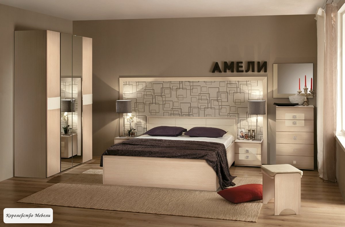 Кровать Амели, без основания, без основания (дуб отбеленный)