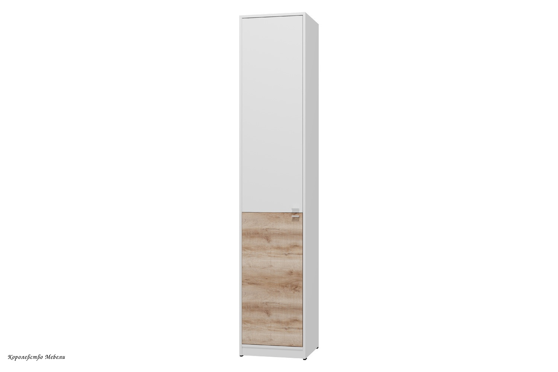 Шкаф для одежды и белья Scandica Vendela 8 (левый) ( Белый гладкий шёлк / Дуб Сакраменто)