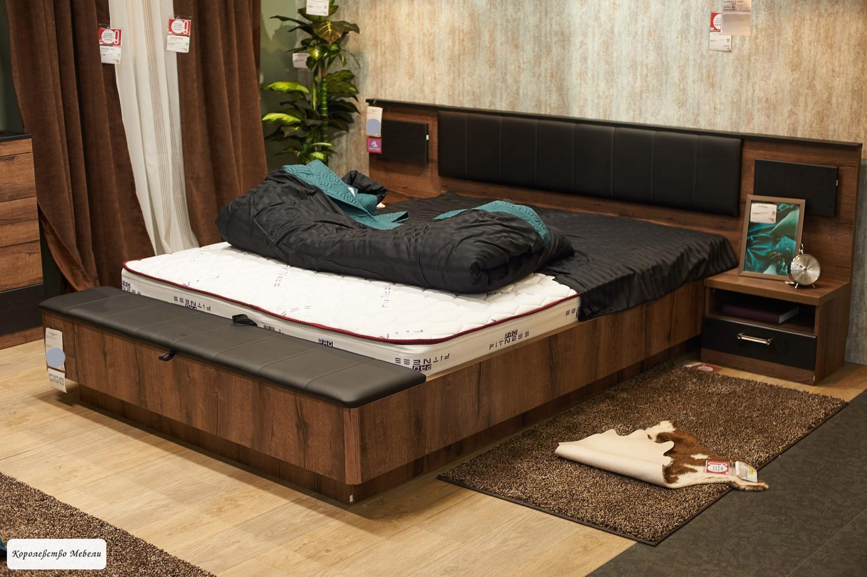 Кровать JAGGER (160*200) с подъемным механизмом (дуб монастырский / черный)