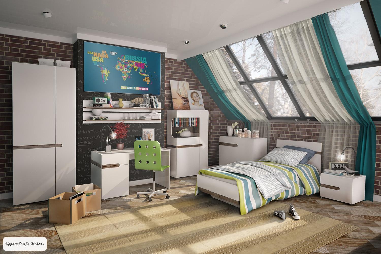 Кровать Linate (90*200) (белый глянец)