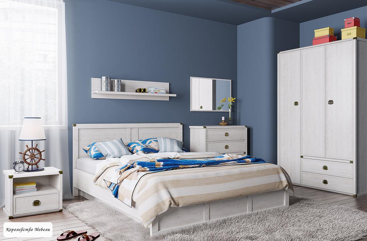 Кровать Магеллан (сосна винтаж),с основанием