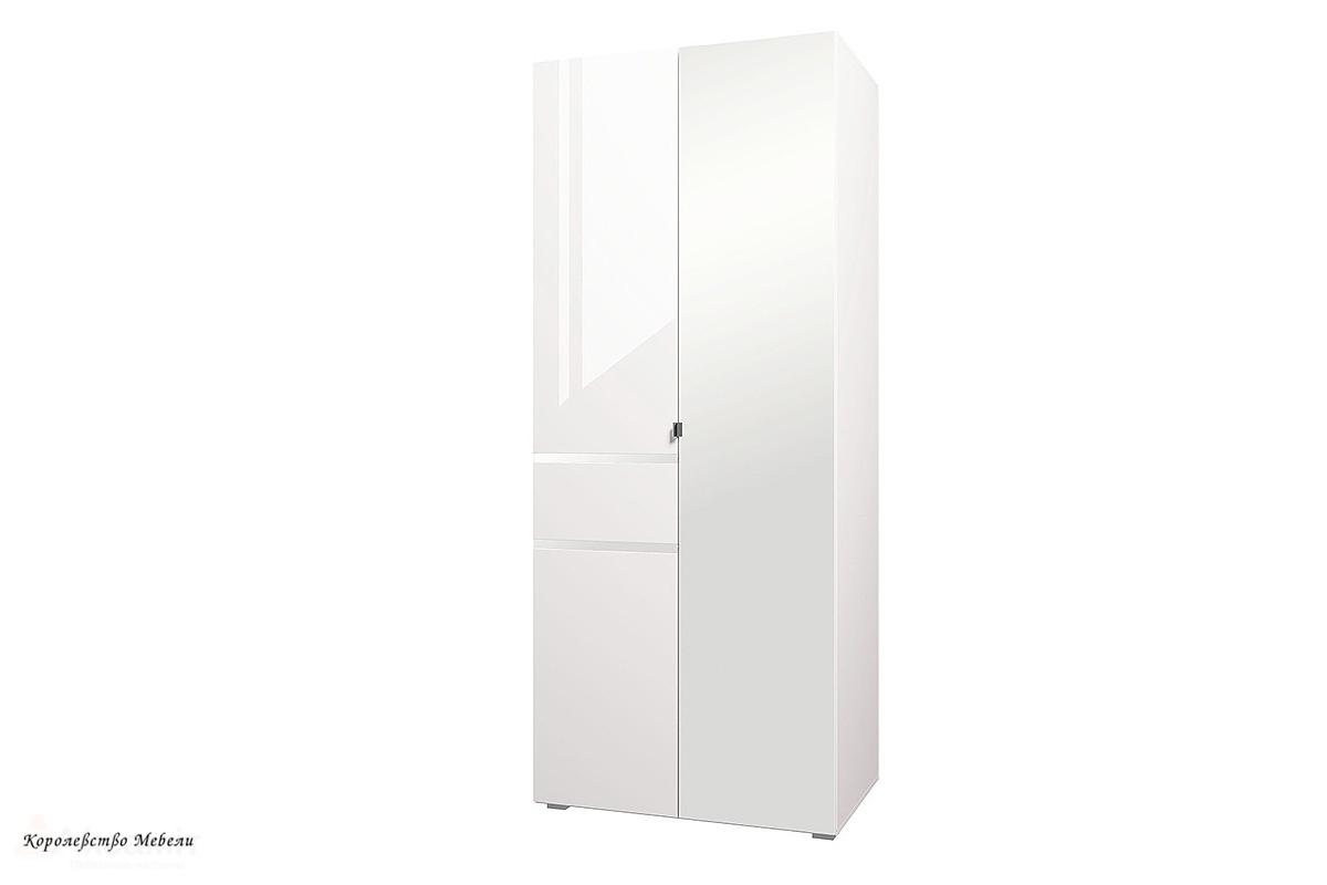 Шкаф 2-х дв. с зерк.Линда (белый снег)
