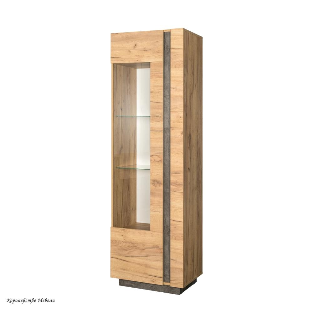 Шкаф-витрина  Арчи 03.263 (дуб крафт золотой / камень темный)