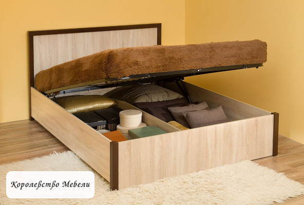 Кровать BAUHAUS, дуб сонома, с подъёмным механизмом
