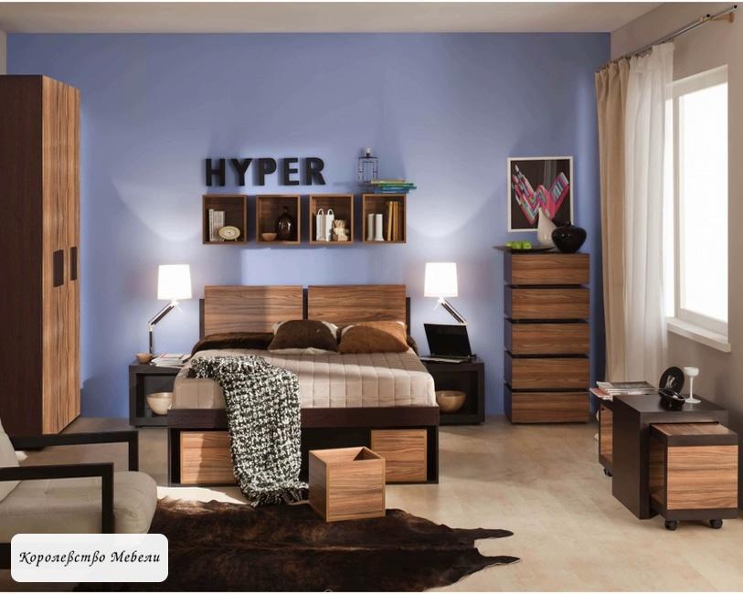 Кровать HYPER ,с подъемным механизмом (венге-палисандр темный)