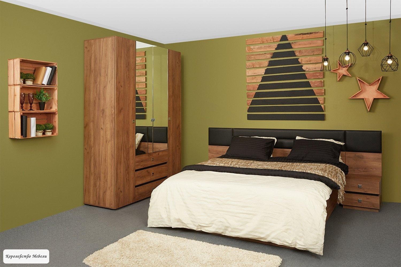 Кровать Neo Люкс, с подъёмн. мех. (Дуб табачный Craft-Черный)