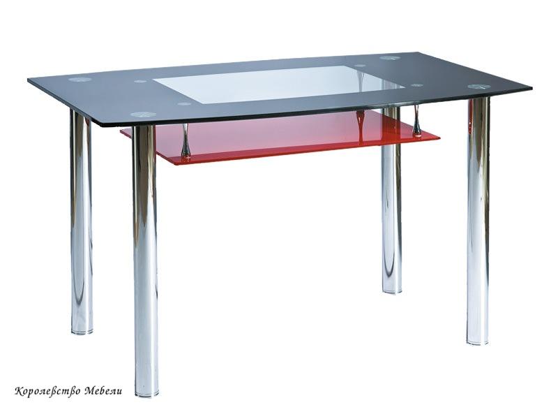 Стол  стеклянный  TWIST A (120*75), черно-красный