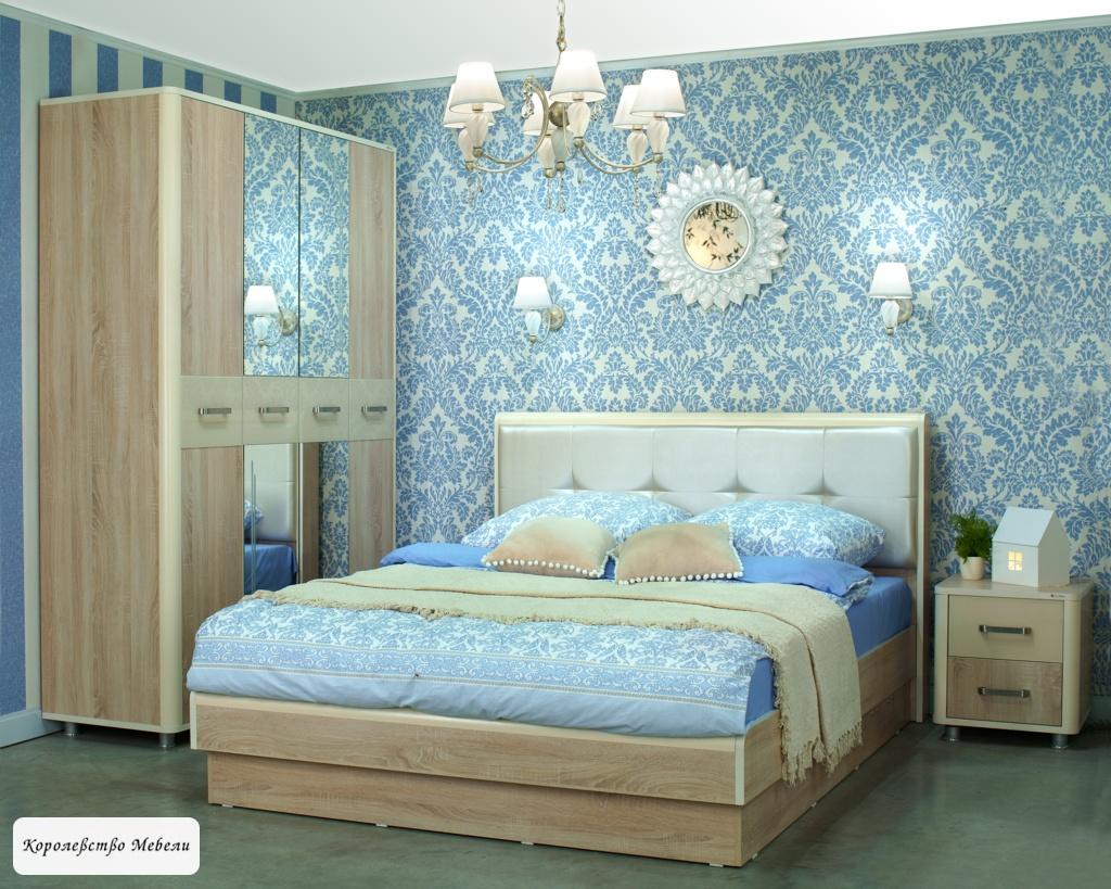 Кровать Оливия, с мягкой спинкой и подъёмным механизмом (дуб сонома /ваниль)