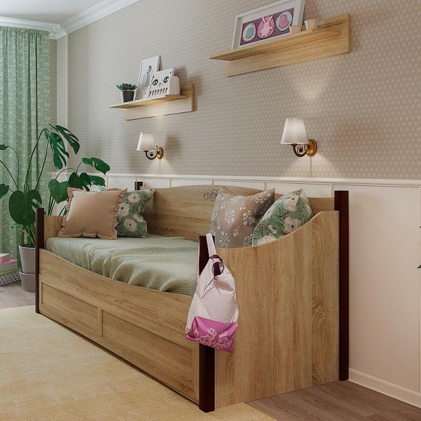Кровать ADELE (80*200) с ящиком (lдуб сонома)