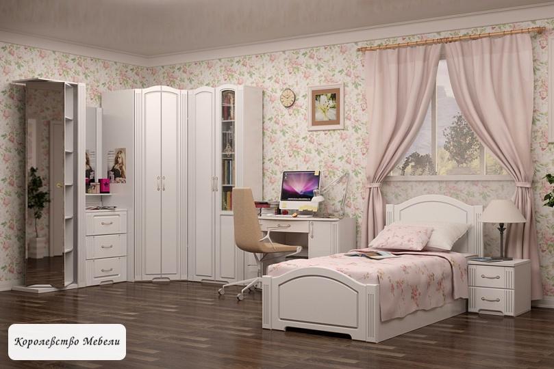 Кровать Виктория (90*200) (белый глянец)