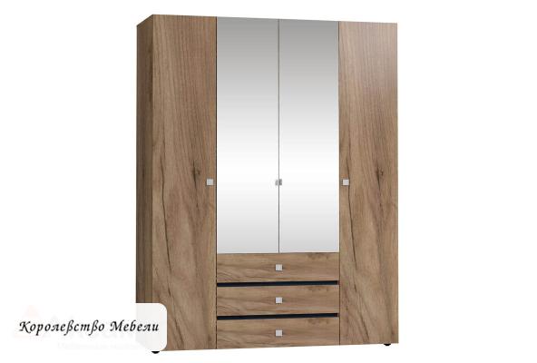 NEO 555 Шкаф для одежды и белья (Дуб табачный Craft-Черный)