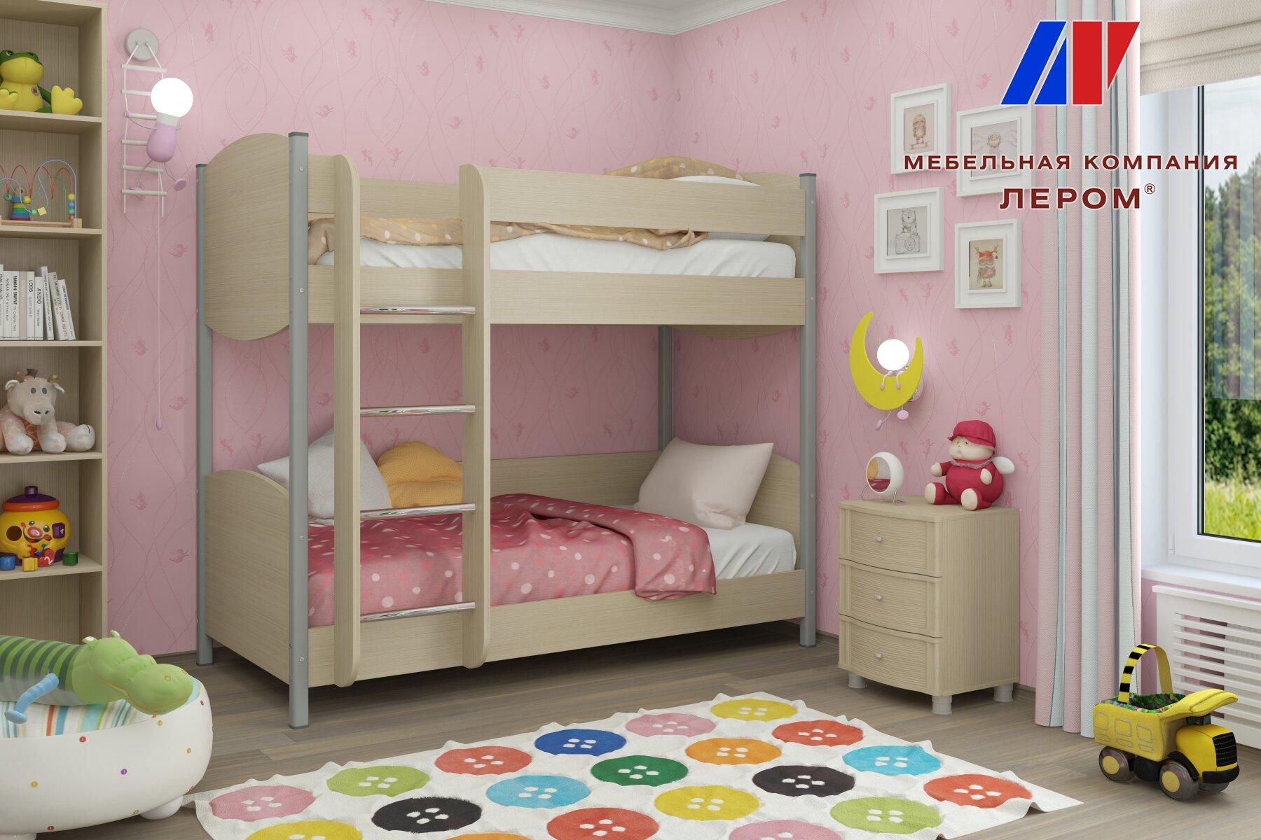 Двухъяруснвая кровать КР-123 (90х190) (дуб беленый)