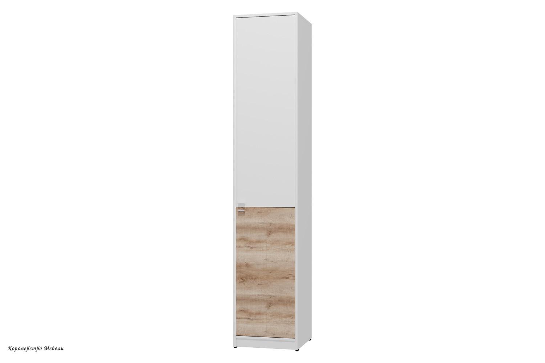 Шкаф для одежды и белья Scandica Vendela 12 (правый) ( Белый гладкий шёлк / Дуб Сакраменто)