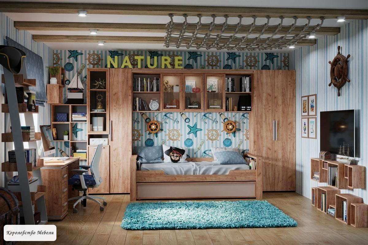 Кровать Nature (90*190) с ящиком  (Дуб табачный Craft/Мокко)