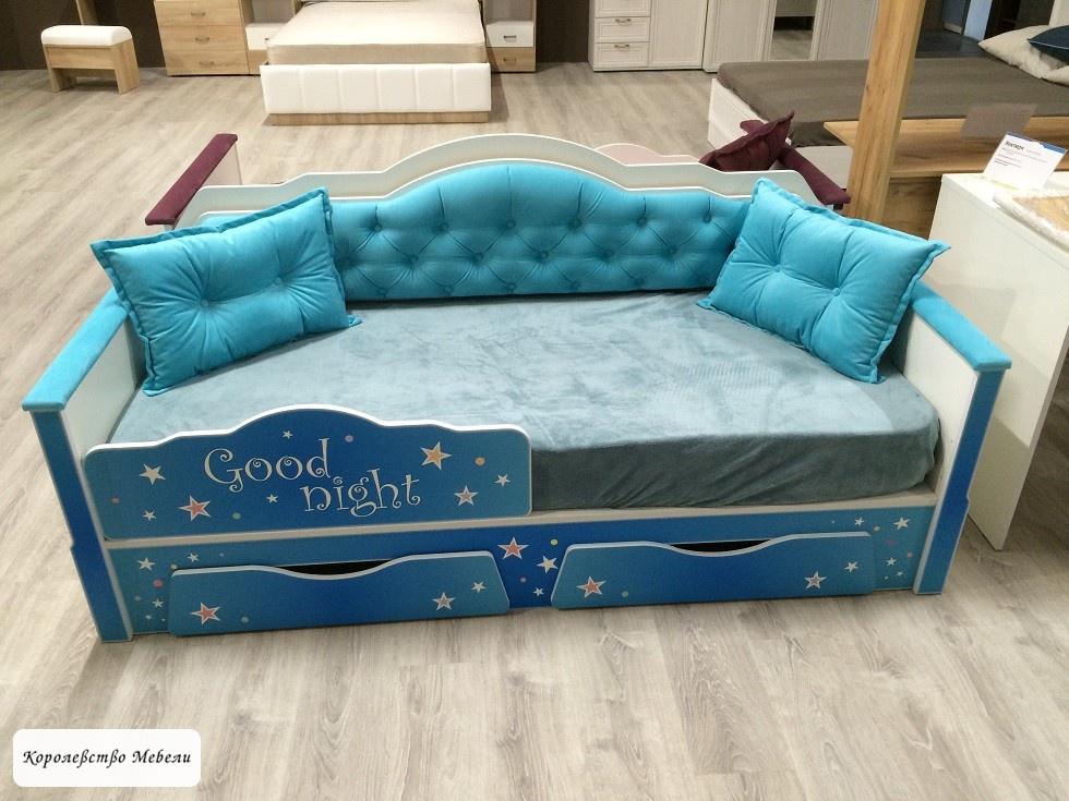 Кровать Ноктюрн 01.34 (80*180) (бирюзовый) с ящиками