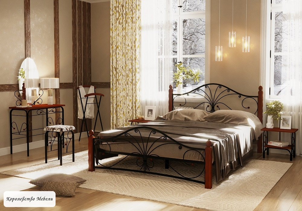 Кровать Фортуна-1 (черный / махагон)