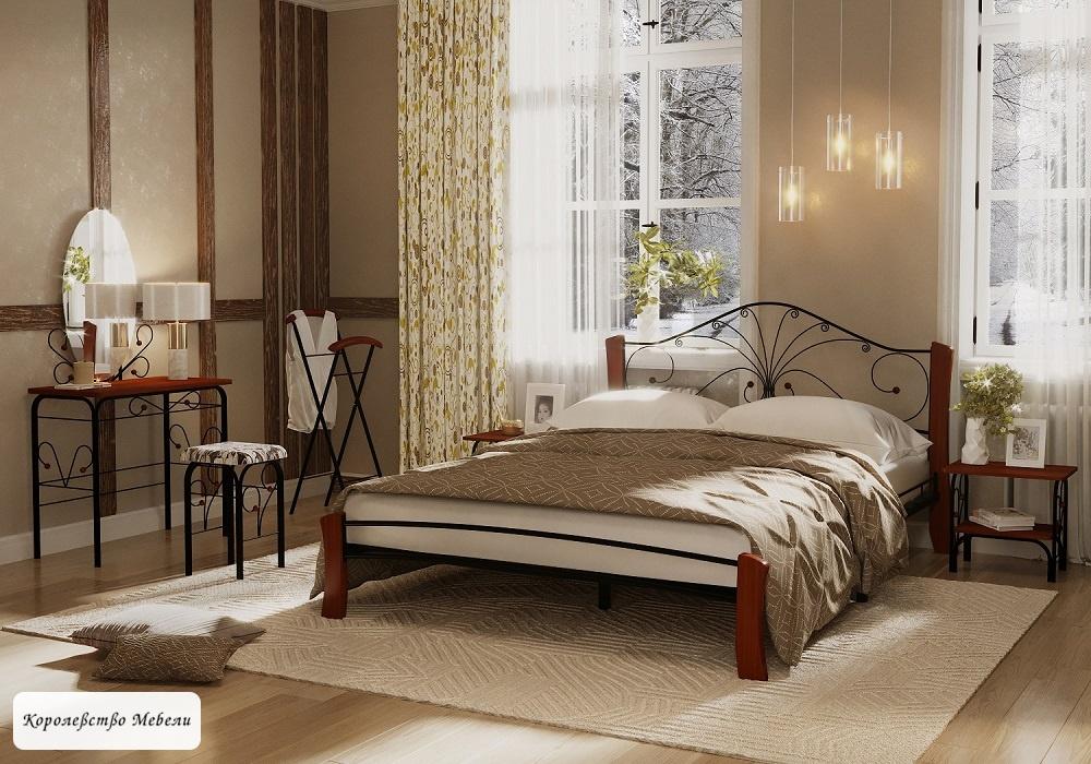 Кровать Фортуна-4 Лайт (черный / махагон)