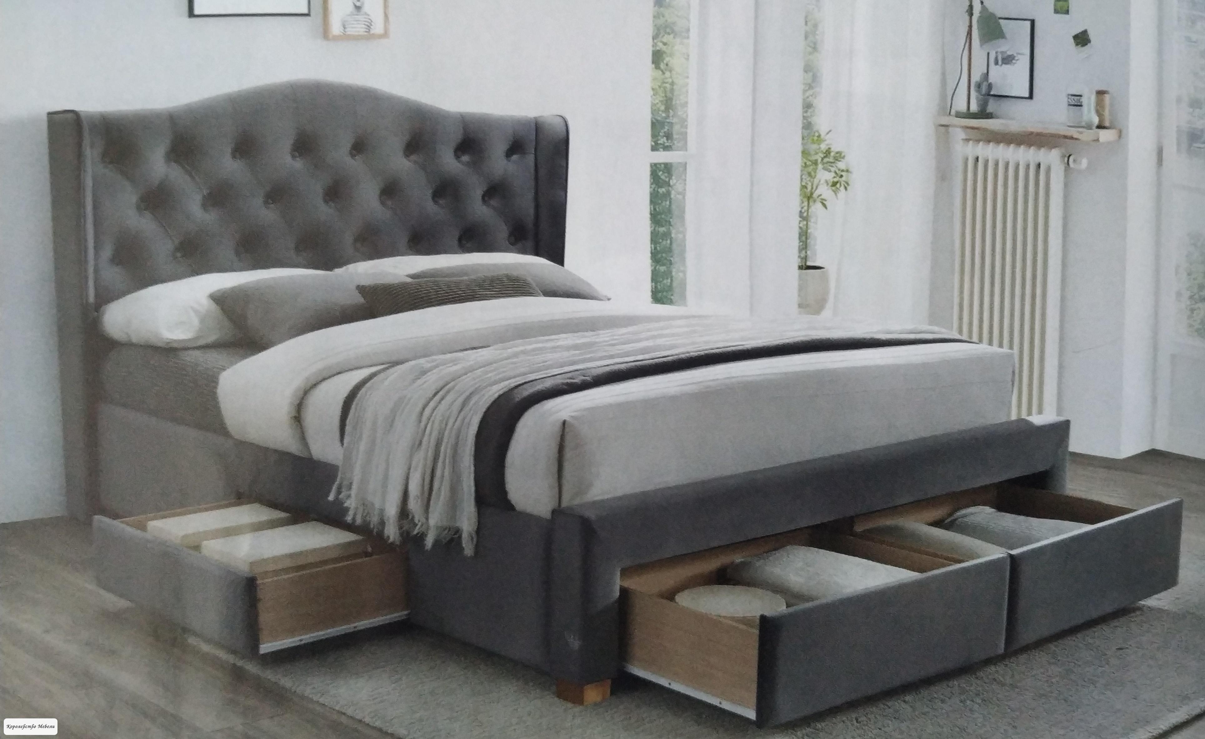 Кровать  ASPEN II VELVET(160x200 ) с ящиками, серый