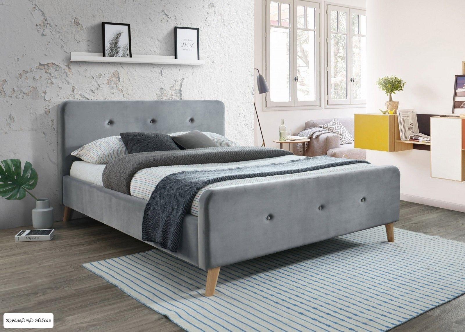 Кровать  Malmo VELVET (160*200) (серый),с основанием