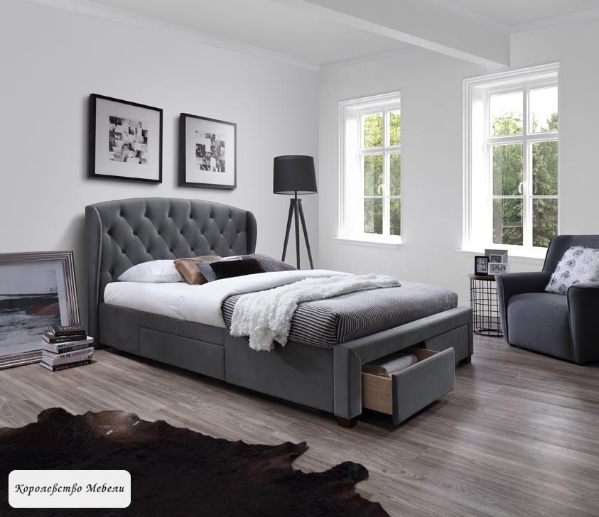 Кровать Sabrina (160*200) (серая),с ящиками