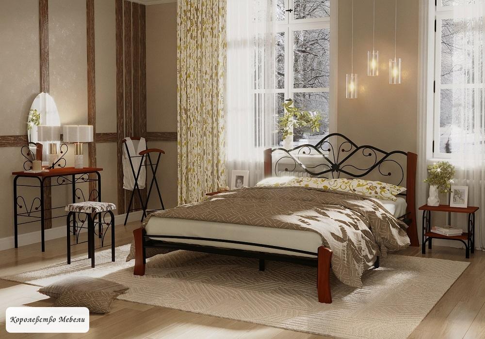 Кровать Венера-4 Лайт (черный / махагон)