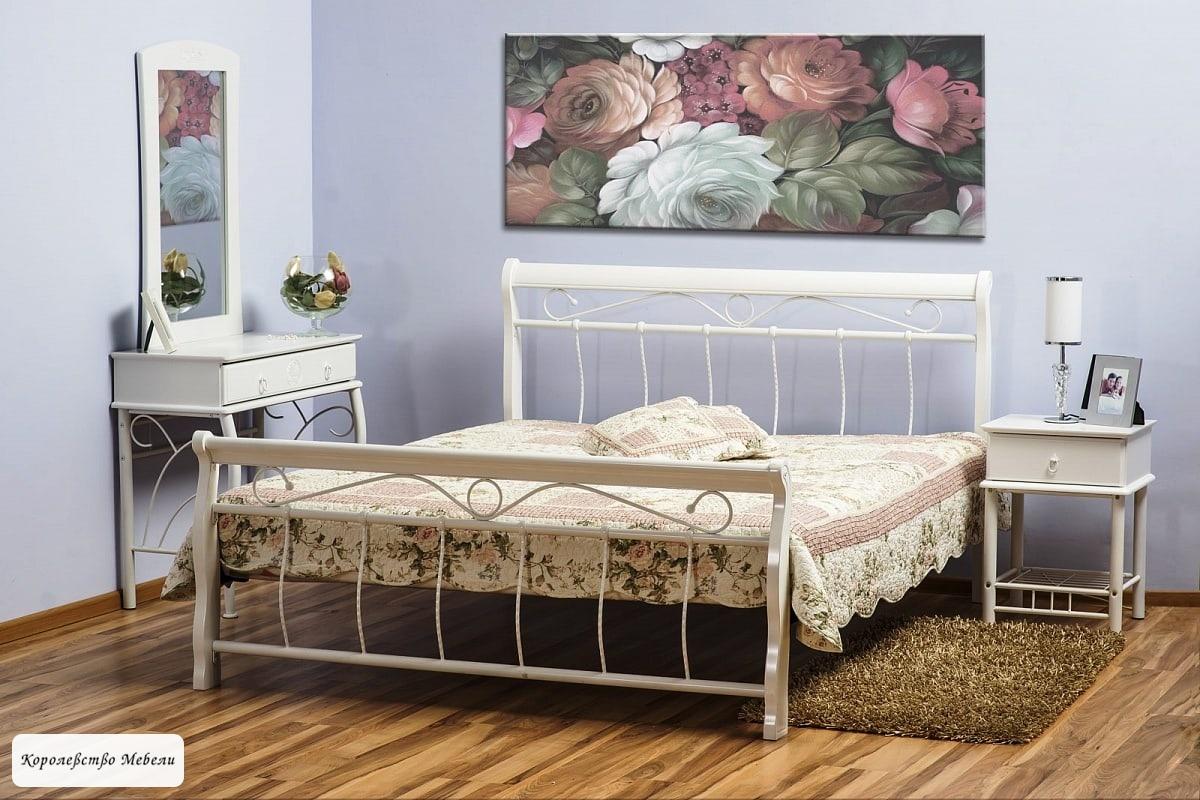Кровать VENECJA  (белая) , с основанием