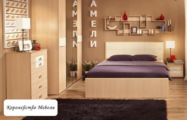 Кровать Амели Люкс, с подъемным механизмом, дуб отбеленный