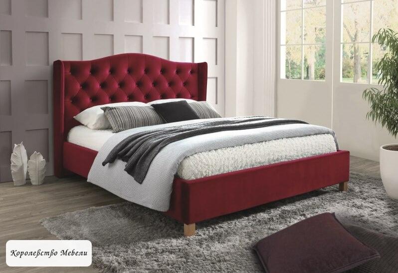 Кровать ASPEN VELVET (бордовый) (160*200), с основанием