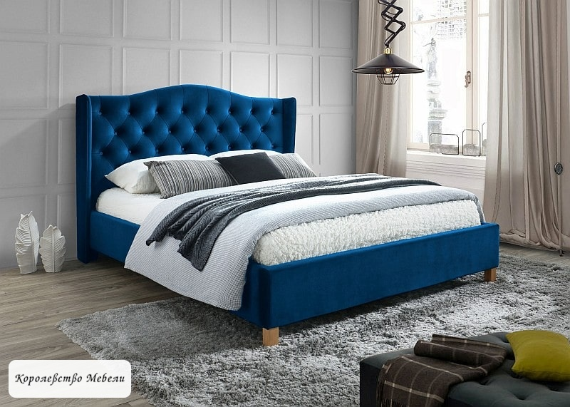 Кровать ASPEN VELVET (160*200) т. синий, с основанием
