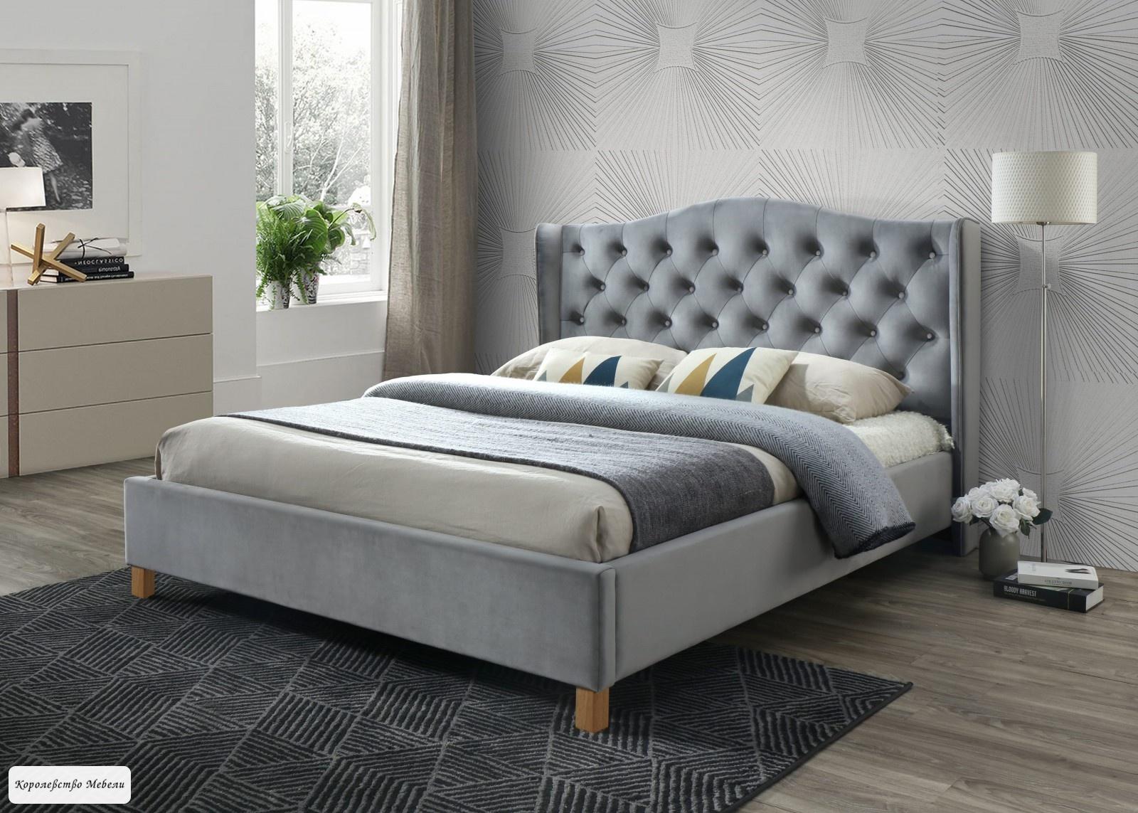 Кровать ASPEN VELVET (Bluvel 14 серый) , с основанием