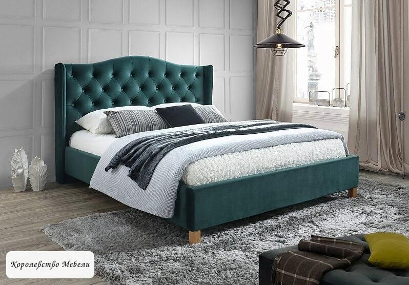 Кровать ASPEN VELVET (зеленый) , с основанием