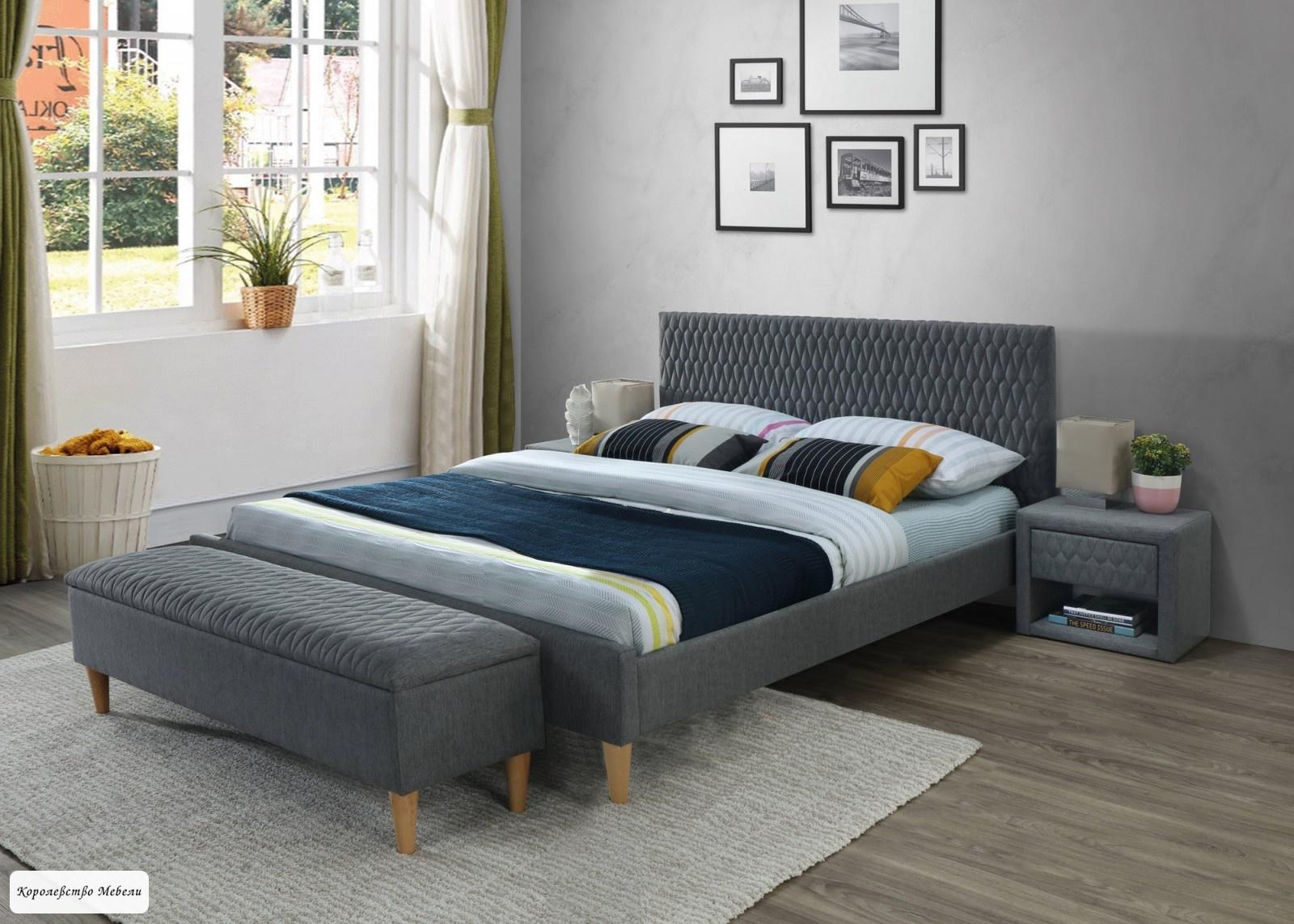 Кровать AZURRO (серый) (160*200), с основанием
