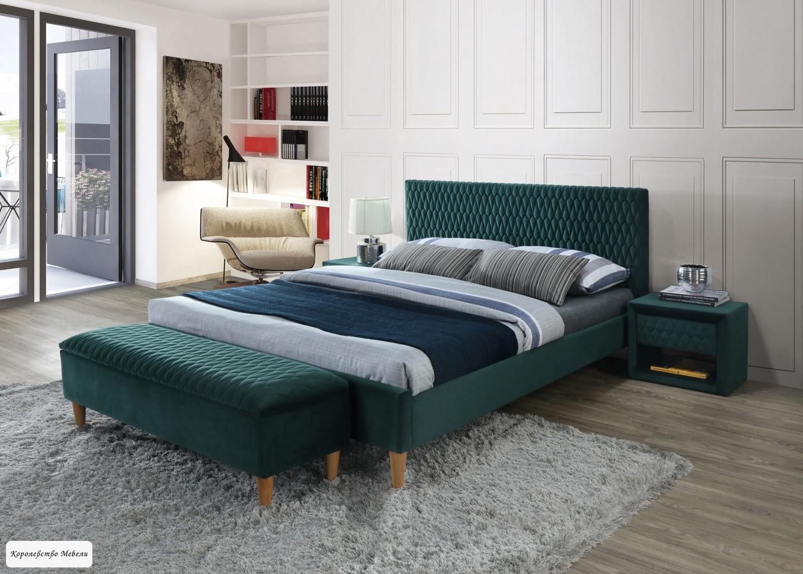 Кровать AZURRO VELVET (зеленый) ,с основанием