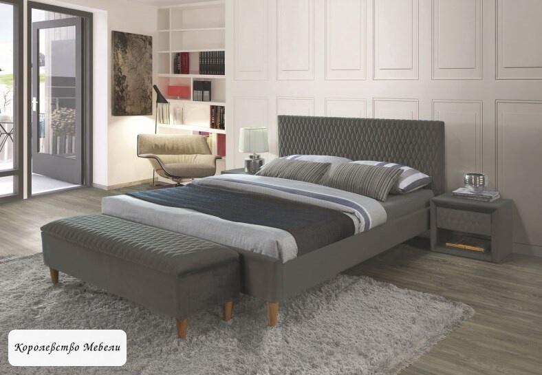 Кровать AZURRO VELVET (серый) ,с основанием