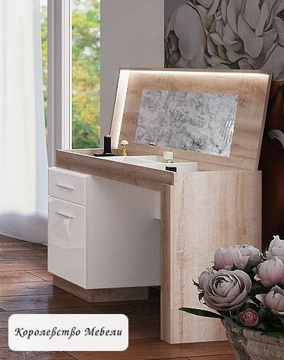 Стол туалетный Люмен 17 (Дуб сакраменто / Белый снег)