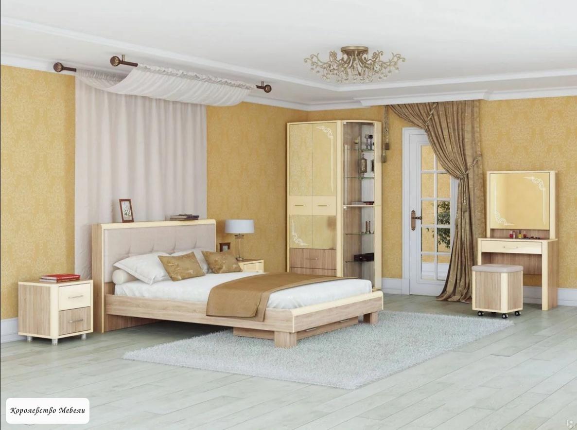 Кровать Оливия, с мягкой спинкой, без основания (дуб сонома/ваниль)