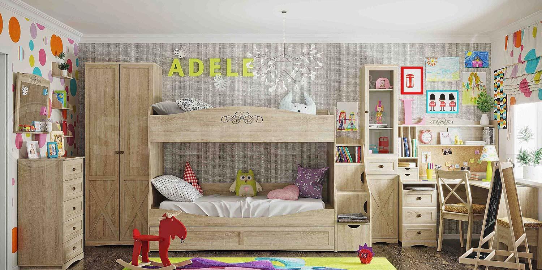 Двухъяруснвая кровать ADELE (90*190) с ящиком (дуб сонома)