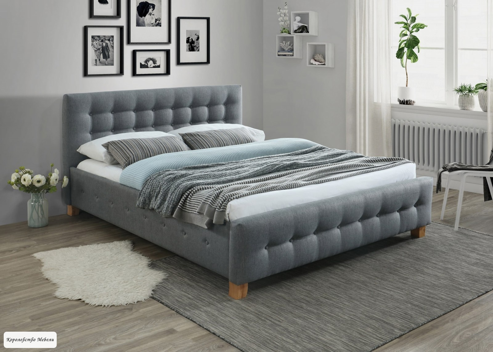Кровать BARCELONA (160*200) cерая,с основанием